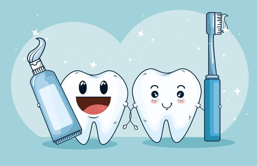 illustrazione di due denti che reggono spazzolino e dentifricio per combattere le macchie nere sui denti